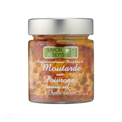 Moutarde aux poivrons et pointe d'ail Bio130g (ref:7307)