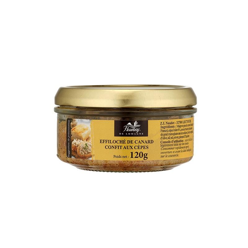 Effiloché de canard confit aux cèpes 120g (bocal)