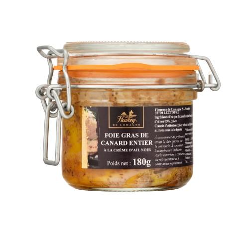 Foie gras de canard entier à la crème d'ail noir 180g (bocal)