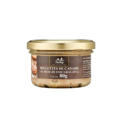 Rillettes de canard au bloc de foie gras (20%) 80g (bocal)