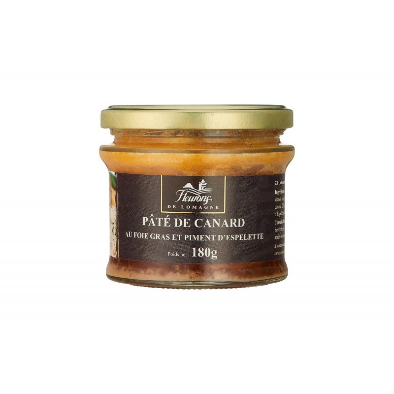 p t de canard au foie gras et piment d 39 espelette 180g verrine les fleurons de lomagne. Black Bedroom Furniture Sets. Home Design Ideas