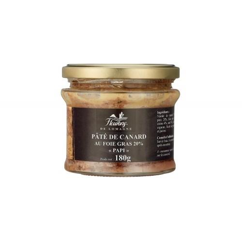 """Pâté de canard au foie gras (20% FG) """"Papi"""" 180g (bocal)"""